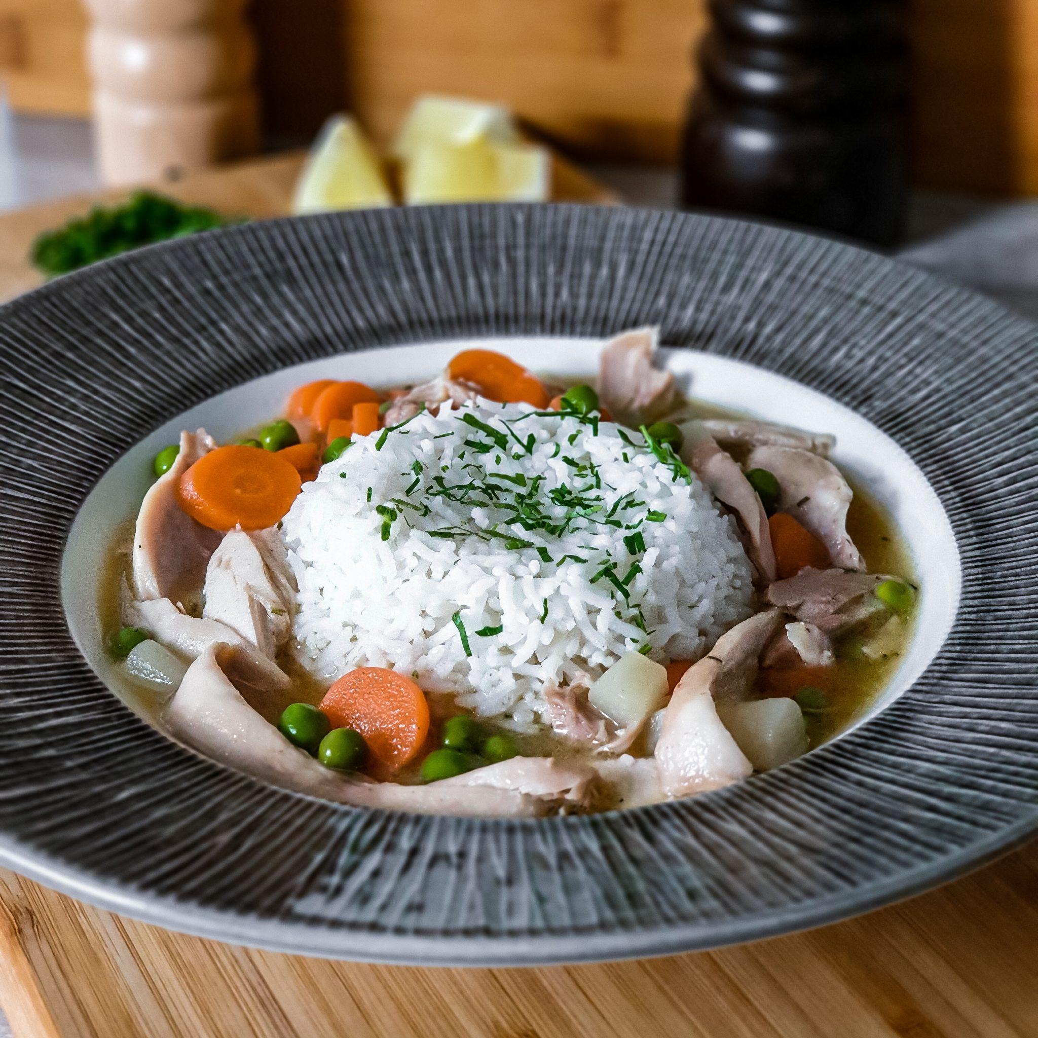 Hühnerfrikassee mit Reis ein Klassiker